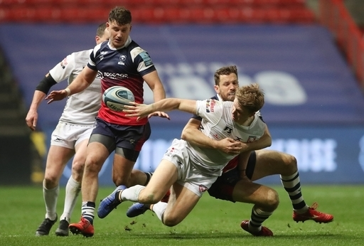 Gloucester's Ollie Thorley is tackled by Bristol's Luke Morahan during the Gallagher Premiership mat