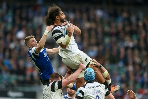 Bath Rugby's Ruaridh McConnochie and Bristol Bears Chris Vui during The Clash match in the Gallagher