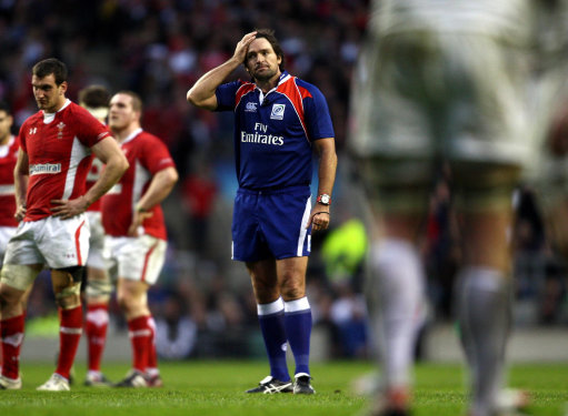Referee Steve Walsh during the RBS 6 Nations match at Twickenham, London.