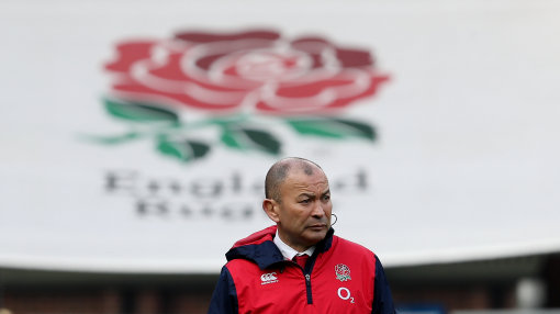 England head coach Eddie Jones with the Six Nations Trophy after the press conference at Pennyhil Pa