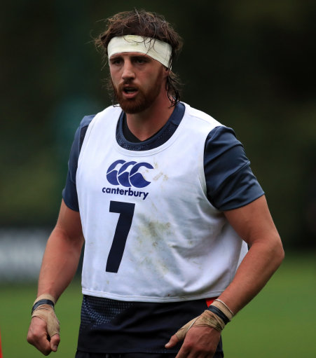 Englands Tom Wood during a training session at Pennyhill Park, Bagshot.