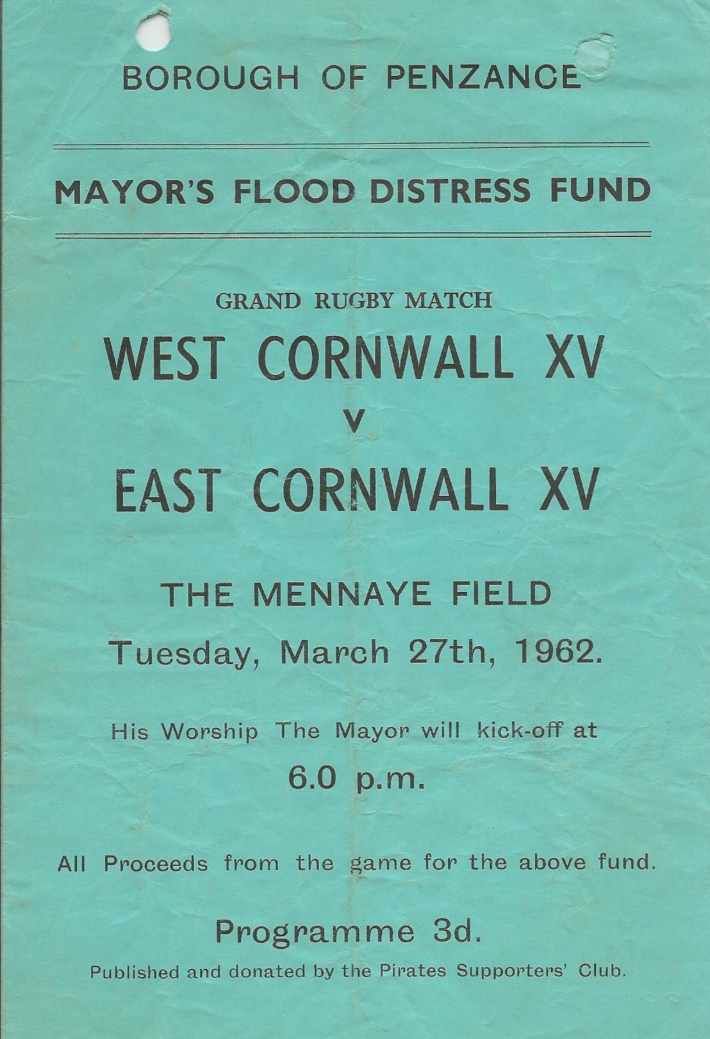 W v E  Cornwall match March 1962