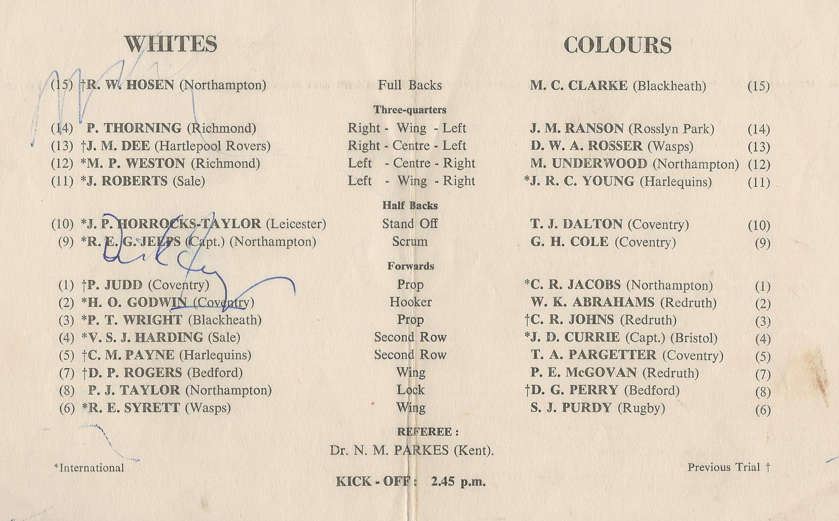 England trial teams 1961