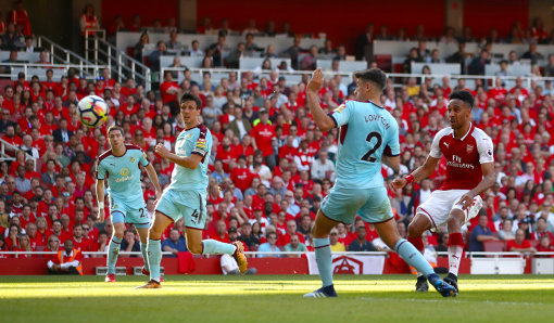 Aubameyang scores his side's fifth goal v Burnley