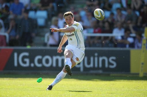 Exeter Chiefs' Joe Simmonds kicks a conversion during the Aviva Premiership match at Twickenham Stoo