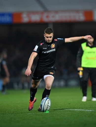 Exeter Chiefs Joe Simmonds kicks points during the Gallagher Premiership match at Sandy Park, Exeter