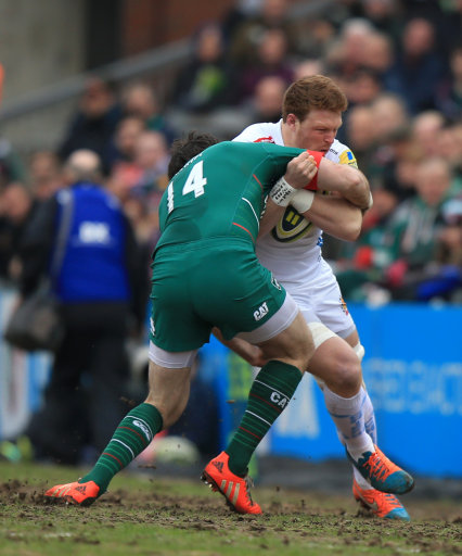 Exeter Chiefs Sam Simmonds, (right) is tackled by Leicester Tigers Matt Smith, (left) during the LV