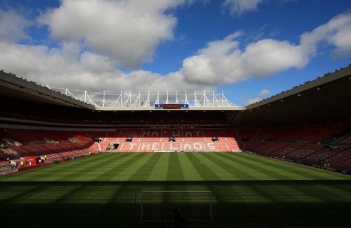 General view of the Stadium of light. A view of the east stand: