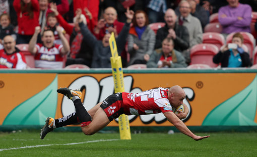 Willi Heinz runs in their final try during the Aviva Premiership match at the Kingsholm