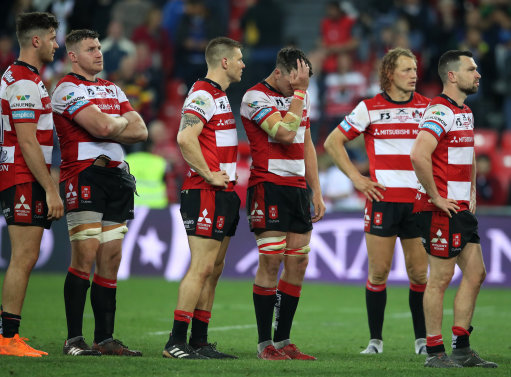 Gloucester Rugby look on dejected after the European Challenge Cup Final at the San Mames Stadium, B