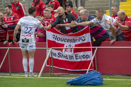 Owen Williams of Gloucester thanks his fans during the Heineken Champions Cup match between Munster