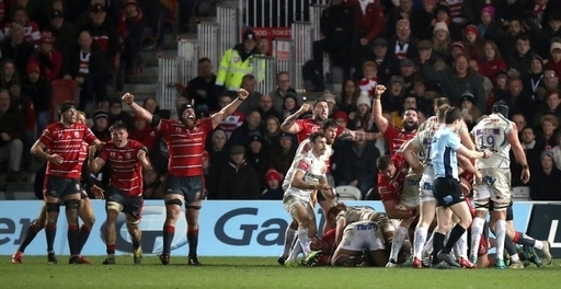 Gloucester players celebrate victory in the Gallagher Premiership match at Kingsholm Stadium, Glouce