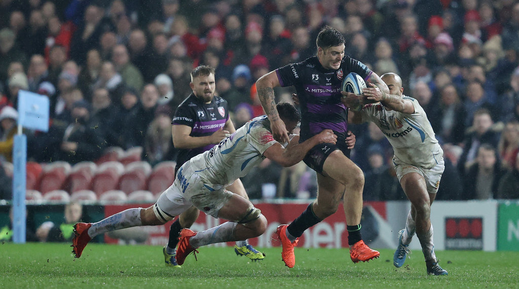 Matt Banahan is tackled by Exeter's Dave Ewers during the Gallagher Premiership match a