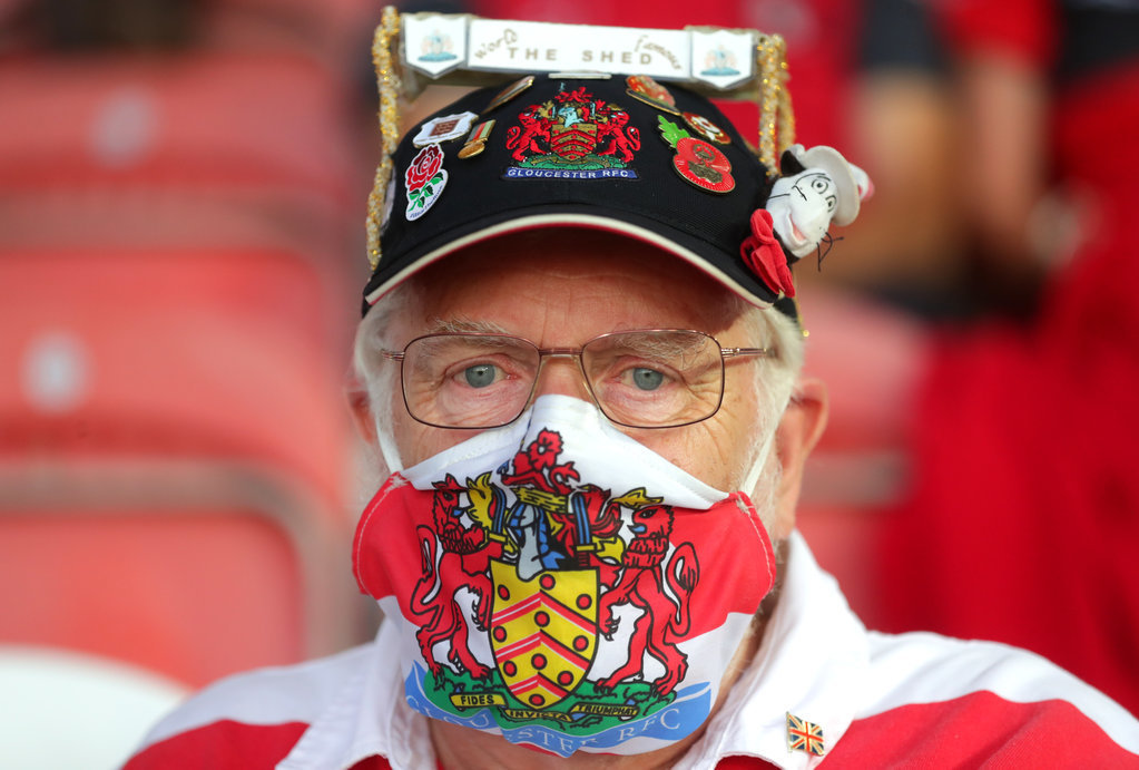 A Gloucester fan in a mask before the Gallagher Premiership match at Kingsholm Stadium, Gloucester.