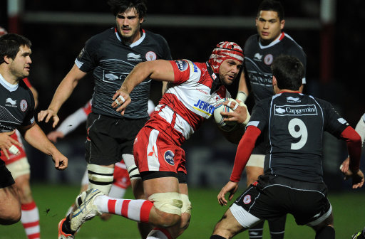Gloucesters Sione Kalamafoni makes a break during the Amlin Challenge Cup, Quarter Final match at Ki
