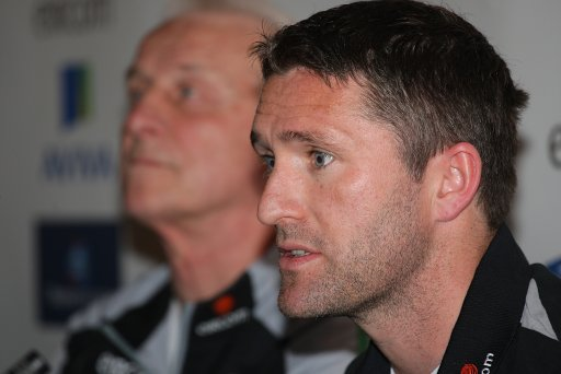 Republic of Irelands Robbie Keane (right) talks during a press conference
