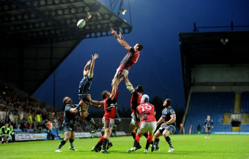 London Welshs Matt Corker wins the ball in a lineout during the Greene King IPA Championship Final,
