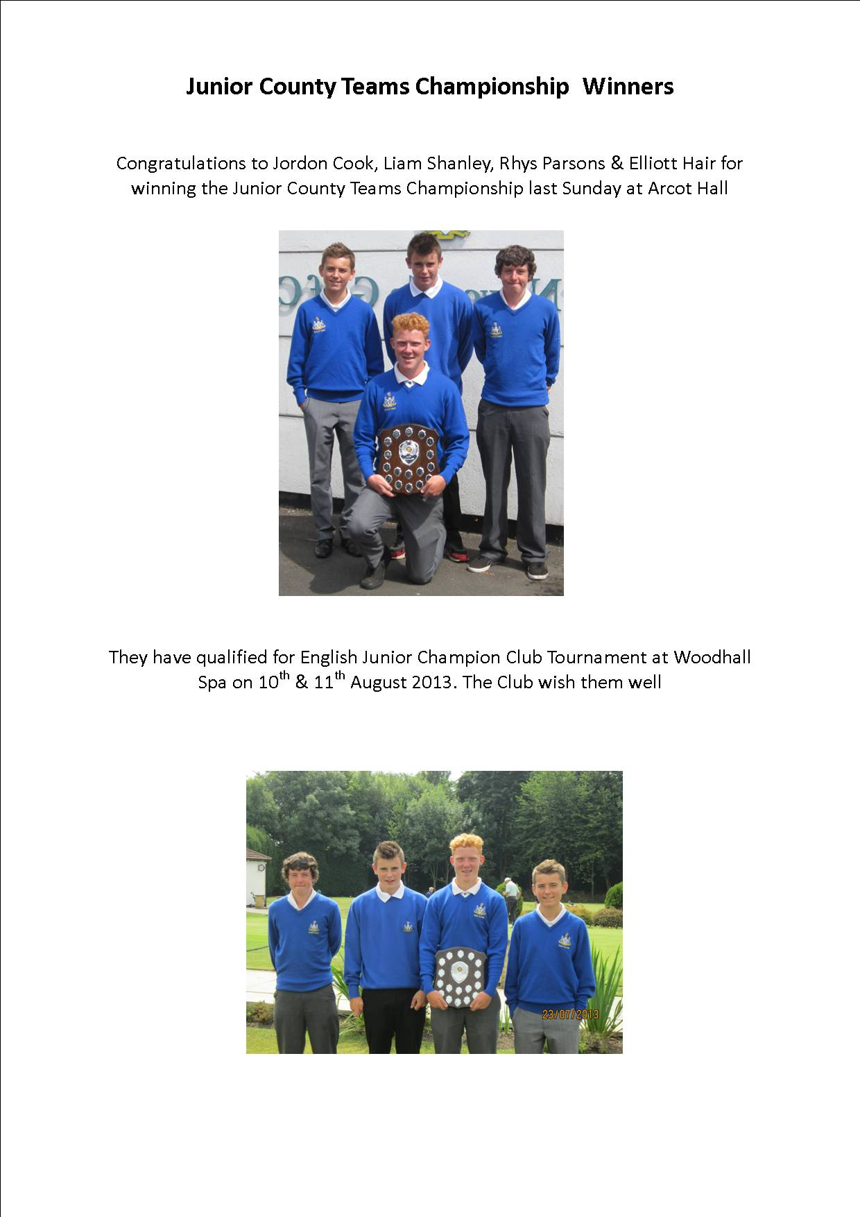 Junior County Teams Championship Winners