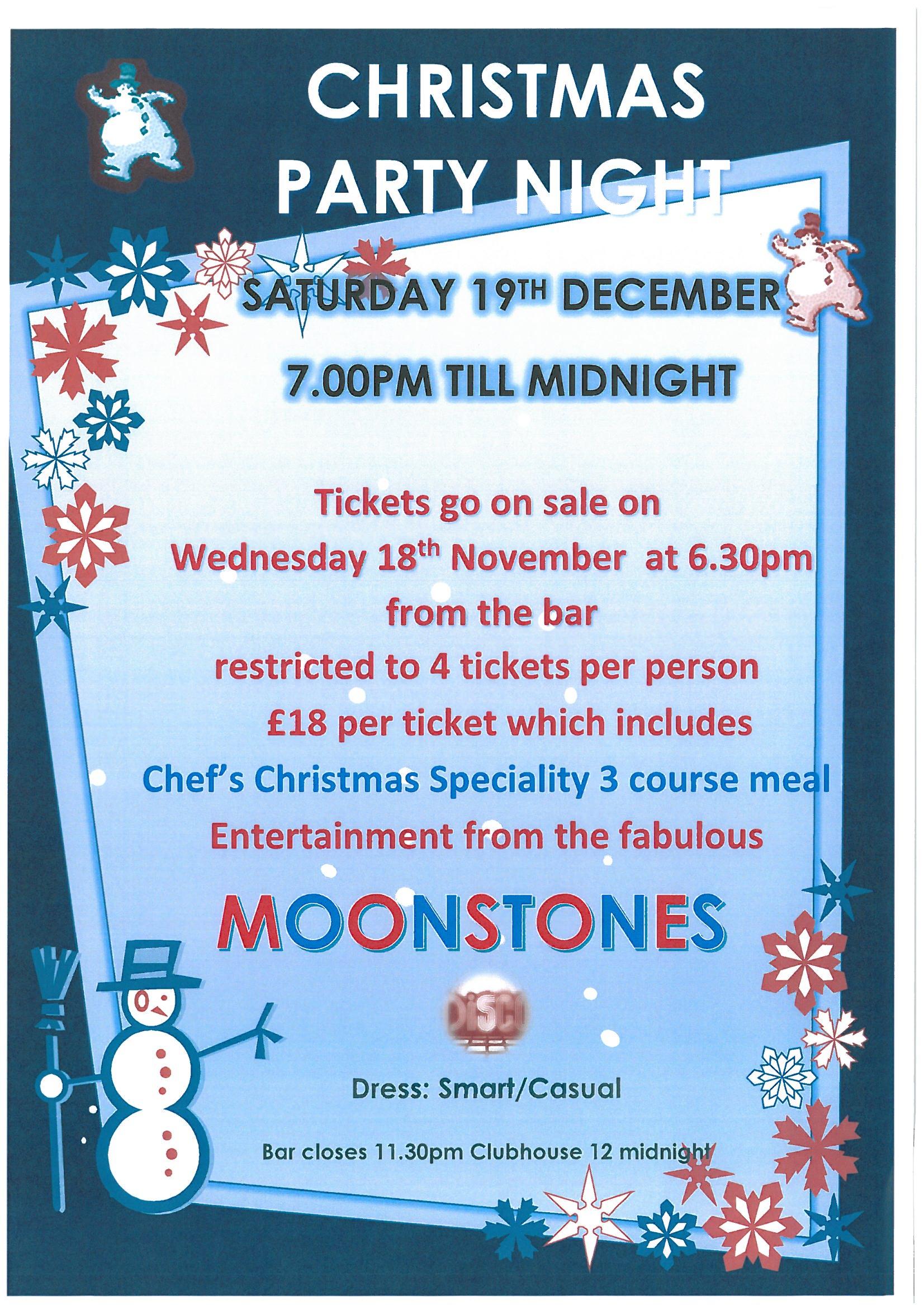 christmas party night menu