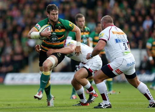 Northampton Saints Jon Fisher hands off Sales Vadim Cobilas during the Aviva Premiership match at Fr